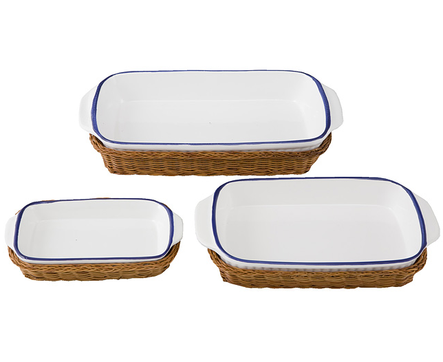 Set of 3 Porcelain Baker with Wicker Tray
