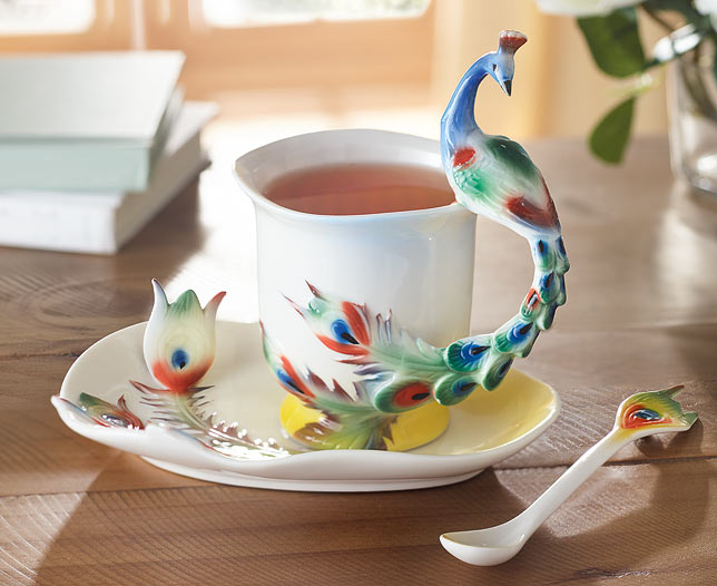 Peacock Design Mug Set