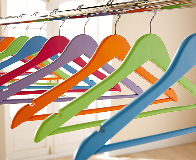 Set of 25 Wooden Colourfu Hangers