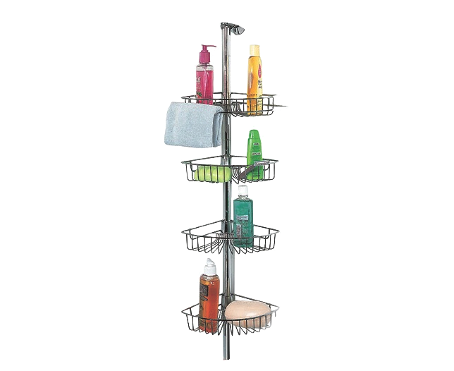 Ss 4 tier shower caddy for Floor to ceiling shower caddy