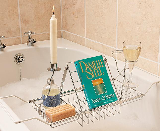 Bathroom Bathtub Organizer Shelf Bath Storage Tray Rack Book Drink