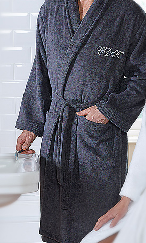 Bath Robe Long Mens Navy L/XL