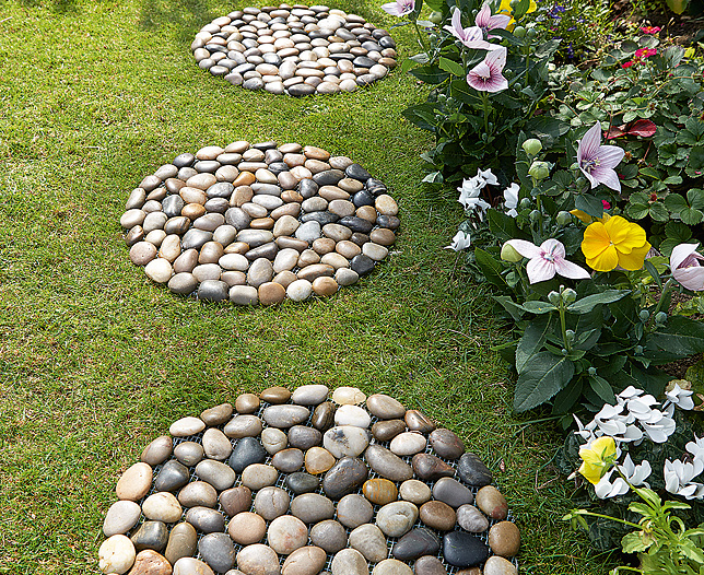 s s river rock round stepping stone set of 2