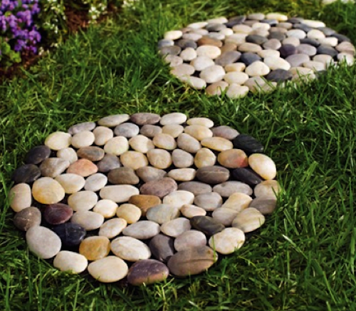 River Rock Round Stepping Stone Set of 2