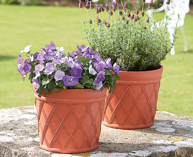 Criss Cross Self Watering Plastic Pots Set of 2