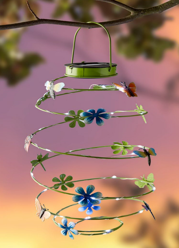Hanging Solar Spiral Light with Butterflies