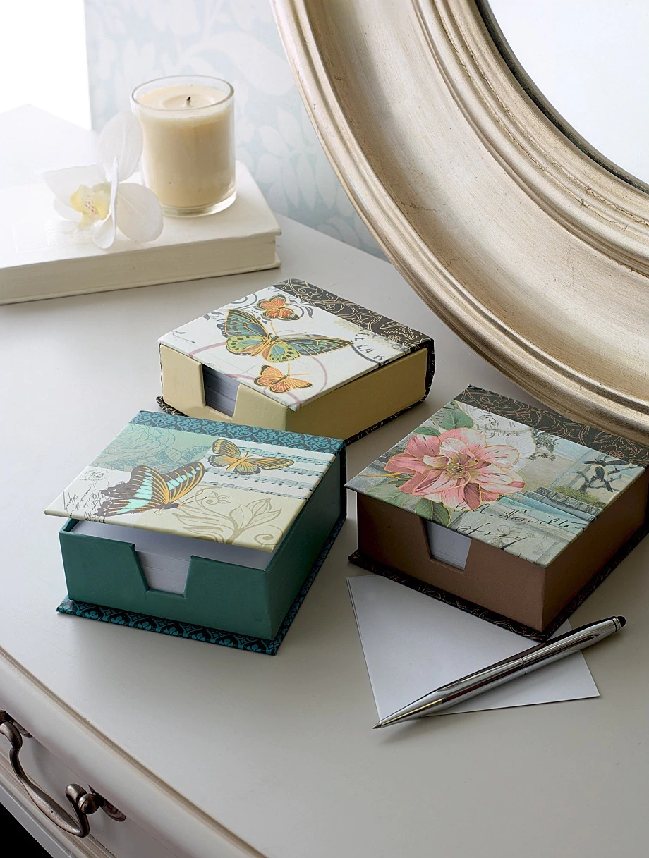 Butterfly & Flowers Memo Boxes Set of 3