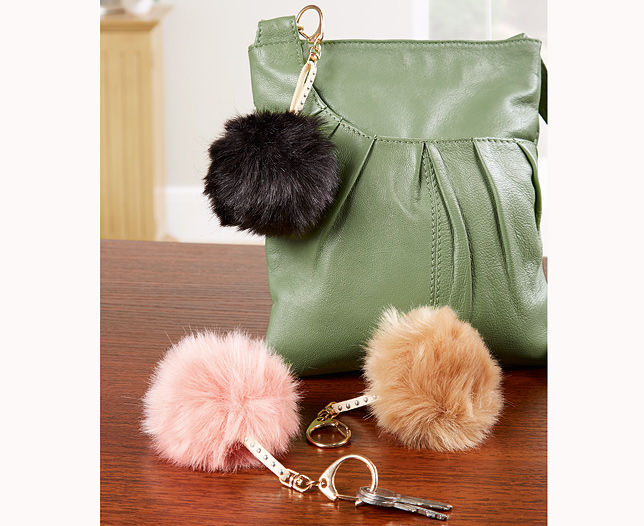 Faux Fur Pom Pom Keyring Set of 3
