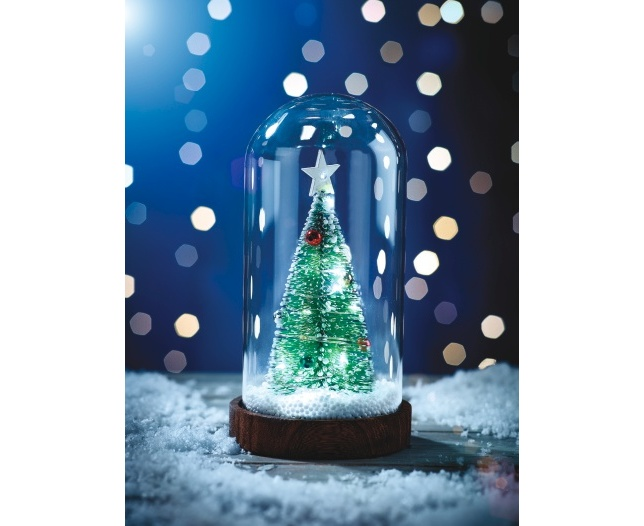 Glass Dome with Lighted Christmas Tree