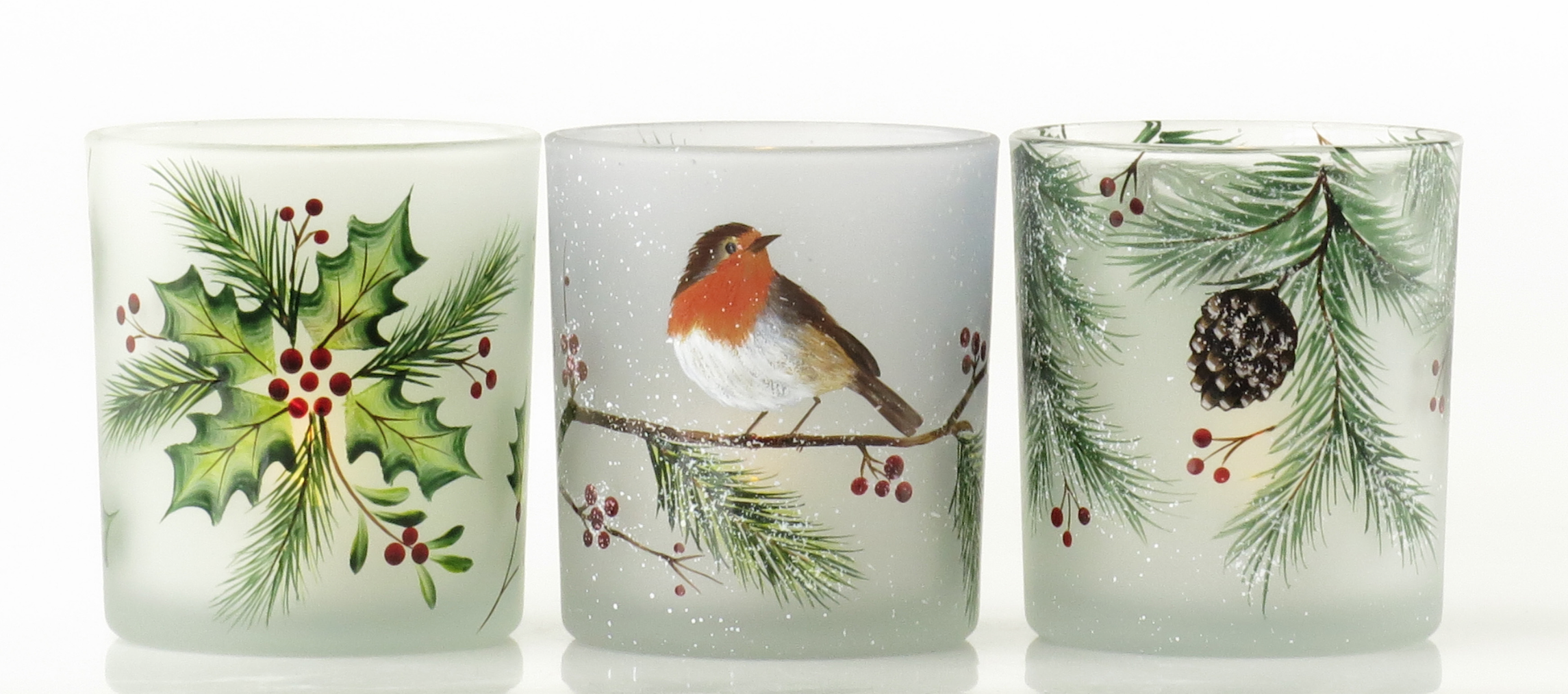 Festive Decorative Glass Cups with LED Tealights