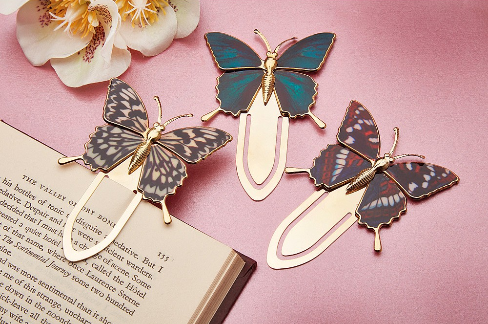 Gold Plated Butterfly Bookmarks Set of 3