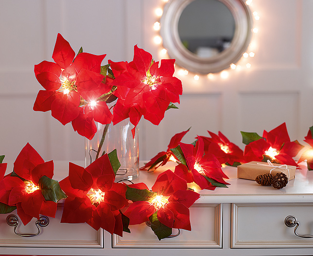 Poinsettia Garland with 10 LED Lights