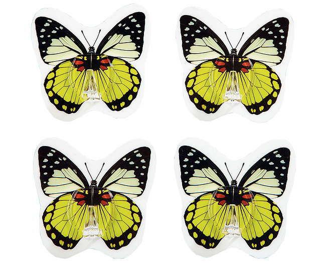 Reusable Butterfly Design Hooks Set of 4