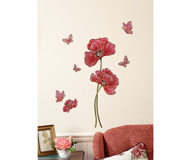 Wall Stickers Poppy & Butterfly Design