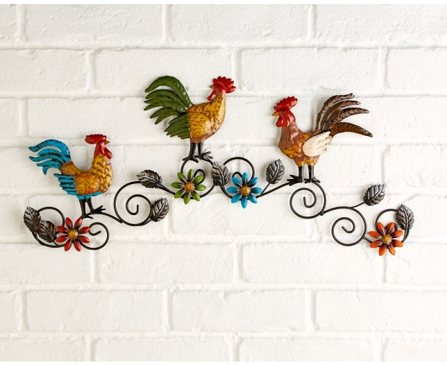 French Rooster and Flowers Hanging Metal Wall Art