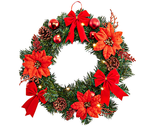 Wreath with Poinsettia & Warm LED Lights