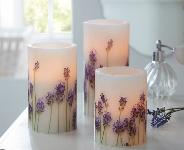 Set of 3 Lavender LED Candles