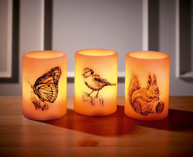 Set of 3 Animal LED Candles