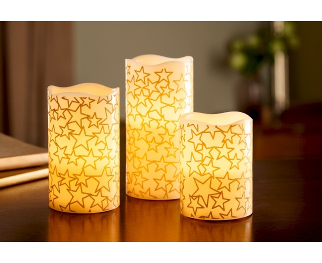Set of 3 Flameless Candles with Star Design