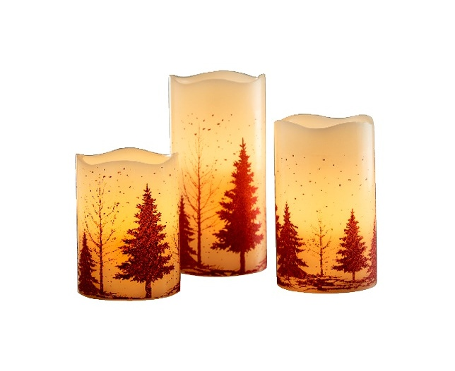 Set of 3 Woodland Design LED Candles