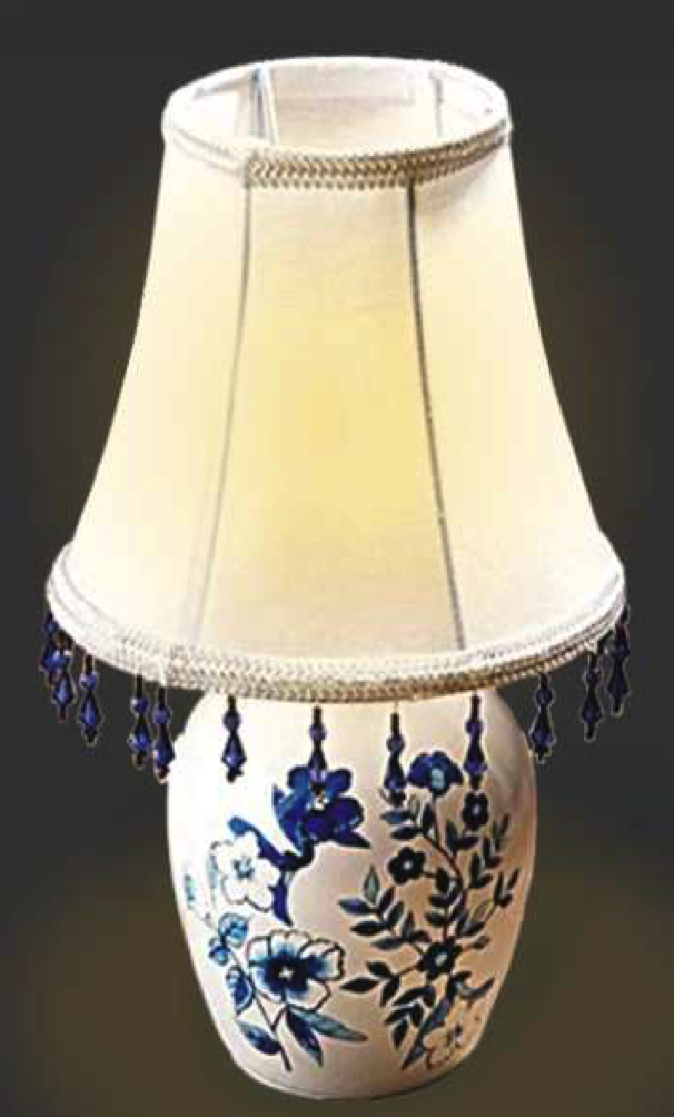 Battery Operated Ceramic Bedside Lamp with Shade